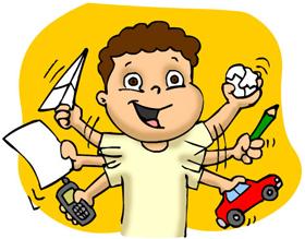 Representación simbólica dun neno con TDAH.