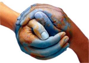 Alegoría do enlace correcto (dúas mans enlazadas pintadas co mapa mundi).