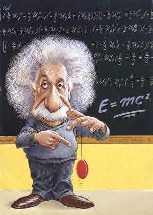Imaxe de Einstein sinalando un ioió. Alegoría de que o básico é o básico.