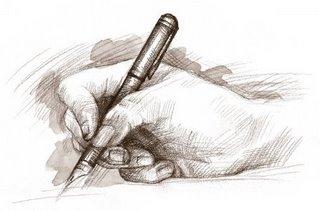 Man escribindo cunha pluma.
