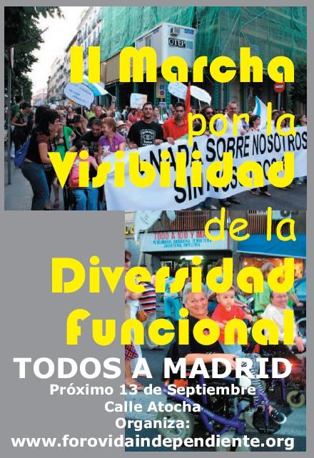 Imaxe do cartel da marcha a Madrid pola diversidade funcional.