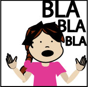 Pictograma en cor de nena falando (bla bla bla)