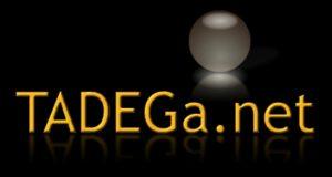 Logotipo de TADEGa sobre fondo negro.