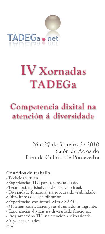 Cartaz anunciador das IV Xornadas TADEGa 2010.