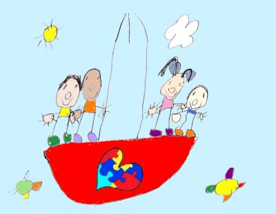 Debuxo infantil sobre a inclusión no autismo.