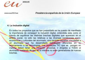 Diapositiva sobre a inclusión dixital