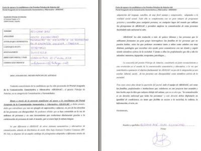 Carta de apoio candidatura ARASAAC