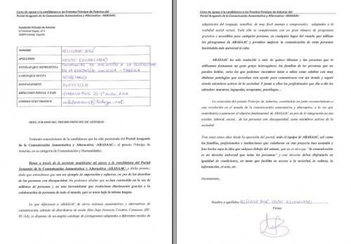 Foto da carta asinada por TADEGA co apoio á candidatura de ARASAAC