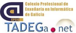 Logotipos do CPEIG (Colexio Profesional de Enxeñaría en Informática de Galicia) e de TADEGa (Tecnoloxías de Atención á Diversidade na Educación Galega).