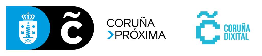 Logotipo de Coruña Próxima e Coruña Dixital do Concello da Coruña.